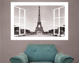 Paris Wall Mural Decal, Paris Decor, Frech Wall Decor, Paris Windowpane Wall Decal, Eiffel Tower Wall Mural, Eiffel Tower Wall Decal, b20