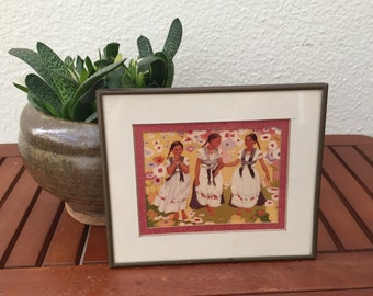 vintage three mexican friends frame reproduction 80s wall decor print folklore indigenous