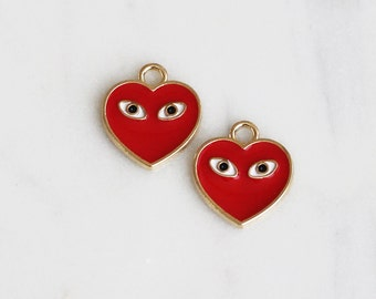 P2-115-G-RD] Red Epoxy Heart with Eye / 13mm / Gold plated / Pendant / 4 piece(s)