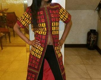 DamiV. ankara Front slit shirt