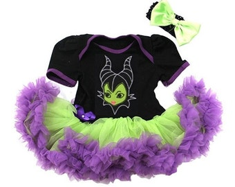 Maleficent Dress With Headband Newborn To 18 Months - Monster Halloween Outfit- Baby Halloween Outfit - Maleficent Costume