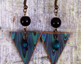 Up-cycled Cardboard Triangle Earrings, decoupage earrings, black and turquoise earrings