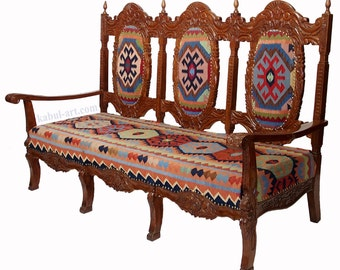 vintage  Chesterfield sofa upholstered in an afghan Kilim .Bank 3 seater couch chair from Afghanistan