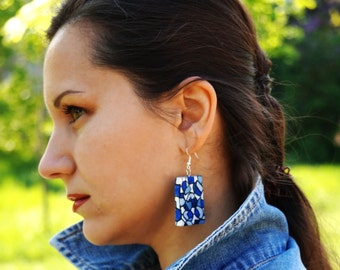 Wood earrings Ethnic style jewelry Handpainted wooden earrings National earrings Red yellow earrings Bright jewelry Eco earrings Folklore