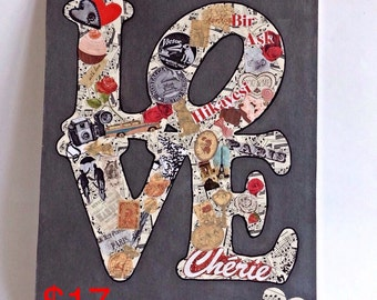 Valentine's Day, 30% off, LOVE sign wall decor, cardboard letters wall art, decorative letters, sheet music, mixed media collage art