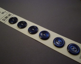 Navy 14mm Buttons on Card, Vintage Slimline, 6 count