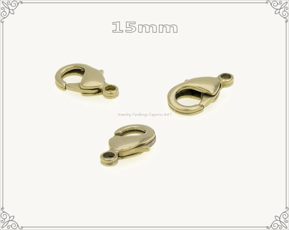 20 pc.+  15mm Solid Brass Lobster Claw Clasp - RAW Brass