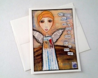 SALE! Angel card, angel notecard, angel note card, mixed media card, inspirational art card, yellow, Earth Angel