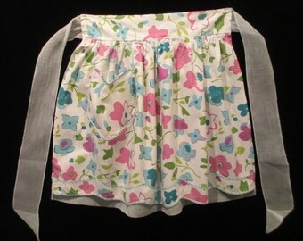 Vintage ReversibleTurquoise and Pink 1950's-60's Half Apron