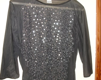 Italian Glamorous Vintage see through party blouse with heavy sequins