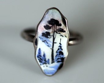 Vintage Rare Aksel Holmsen, Norway. Sterling Silver Enamel Guilloche Scenic Ring.