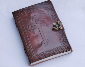Handmade Celtic Cross Tooled Leather Blank Journal, Diary, Sketch or Notebook Book