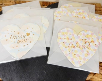 Heart Greetings Card, Thank You Card, I Love You Cards, Pastel Shades, Heart Shaped Cards