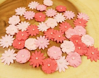 Coral Paper Flowers, Card Toppers, Wedding Decoration, Coral Pink, Floral Embellishments