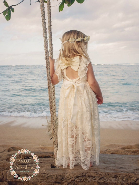 beach flower girl dress junior bridesmaid dress rustic