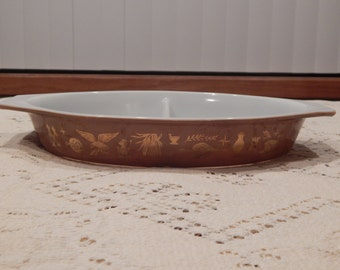 Pyrex Early American Divided Dish