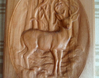 """Carved Wooden Cutting Board """"Deer"""". Size: length 14 inch (36 cm), width 6 3/4 inch (17.5 cm), thickness 5/8 inch (1.5 cm)."""