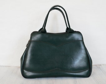 Dark green bag Vintage womens bag Retro handbag Purse for her