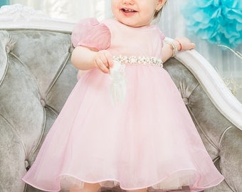 Girl Pink Birthday Dress Mariposa,  Baby Girl Dress For Special Occasions, Butterfly Silk Dress, Flower Girl Pink Dress, Pink Party Dress