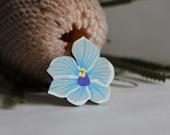 Lapel Pin, Australian Jewelry, Laser Cut Brooch, Shirt Orchid, Brooch Pin for Her, Summer Flower Pin, Painted Badge, Wood Brooch, Plant Gift