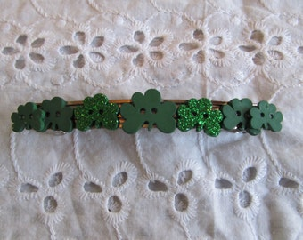 St. Patrick Shamrock Button Barrette,Gifts for her, Gifts for girls, Gifts for teens, Button barrette, Hair Accessories, Hair Clip