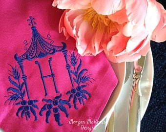 Fuchsia Buffet Napkins w/ Navy Pagoda Single Initial Monogram SET OF 4