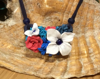 Polymer clay necklace - Blue Dream Collection