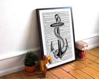 Vintage Anchor, anchor print, vintage dictionary art, Dictionary print, Nautical print