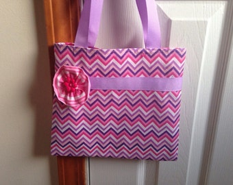 Girls Tote Bag, Little Girls Tote Bag, Toddler Tote Bag, Girls Purse, Little Girls Purse, Toddler Purse, Quiet Bag, Pink And Purple Chevron