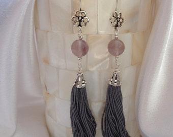 Beautiful Tassel Dangles- Fluorite Tassel Earrings- Tribal Tassel Dangles- Exotic Tassel Earrings- Fluorite Earrings- Lavendar Gemstones
