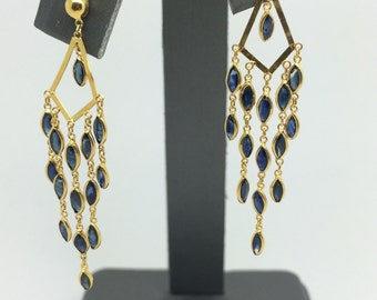 14K Yellow Gold Chandelier Natural Sapphire Earrings