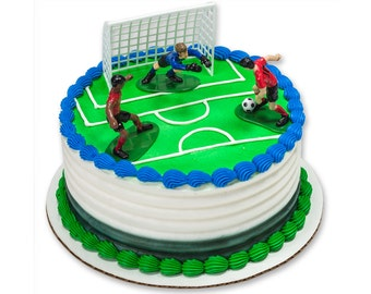 Soccer Kick off Cake Topper 4 pc Sports Cake Decoration Set