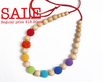 Rainbow Nursing Teething Necklace - Multicolor Nursing Necklace - Crochet Beads