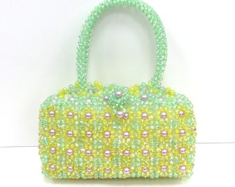 Unique Hand Made Lime Multi Color Bead & Faux Pearl Hand Bag