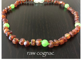 Baltic Amber Teething Necklace - GREEN