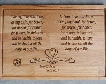 Gepersonaliseerde aangepaste snijplank, aangepaste gegraveerd met de geloften van het huwelijk. Huwelijkscadeau, Gifts Anniversary Gifts