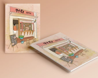 "post card / postcard ""Coffee in Seoul"""