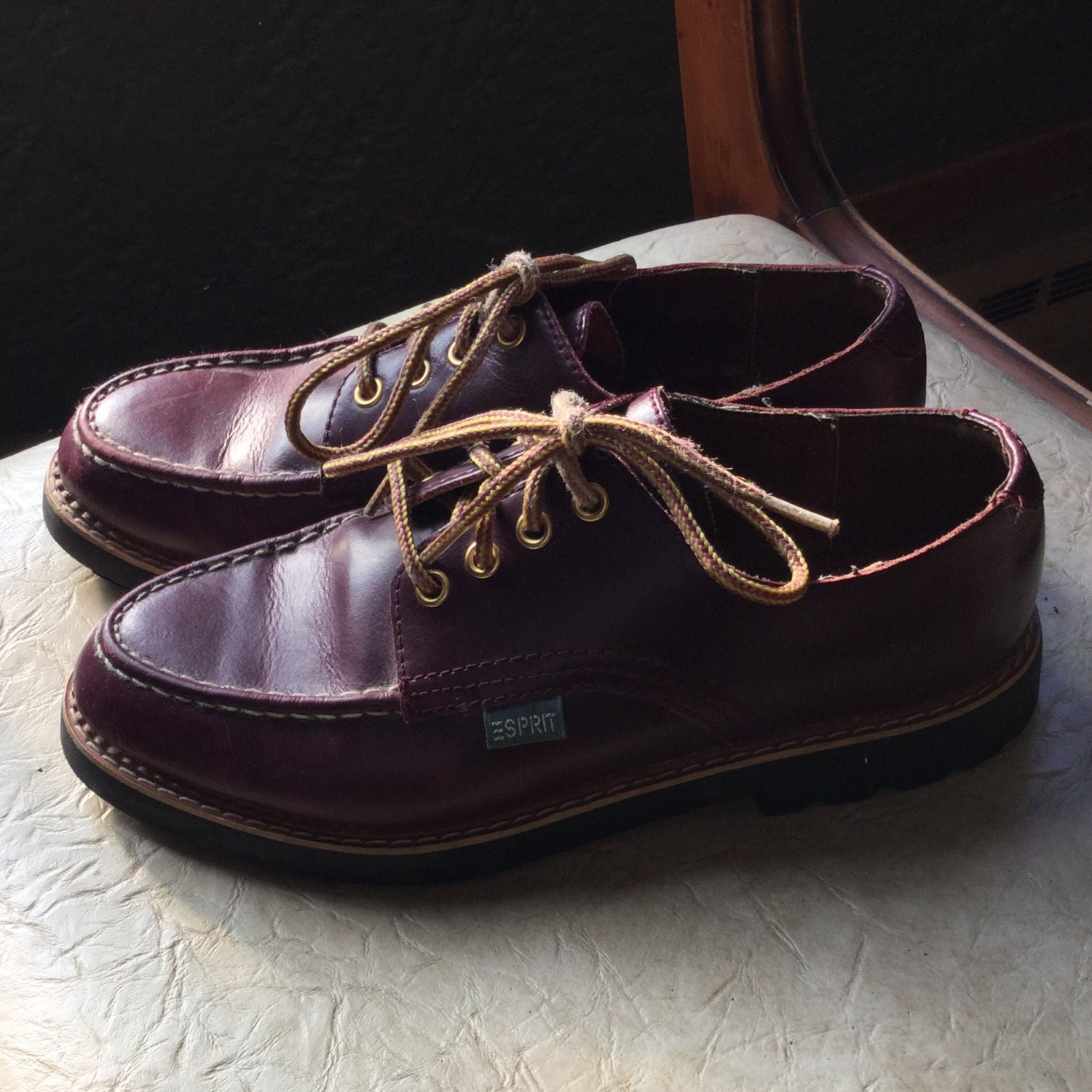 esprit footware burgundy brown leather shoes 90s shoes. Black Bedroom Furniture Sets. Home Design Ideas