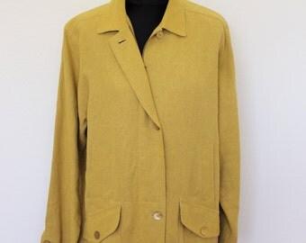 Yellow Linen Parka Summer Coat 80s 90s Long Heavy Linen Jacket Linen Cardigan Long Sleeve Summer Trench Oversized Linen Blazer  Medium Large