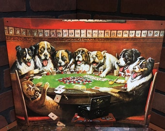 Drunk Dogs Playing Poker tin sign