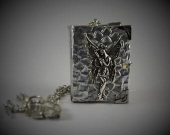 Handmade miniature embossed metal book: A book of fairies