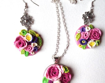 Flowery adornment of roses, floral pendant, floral jewelry