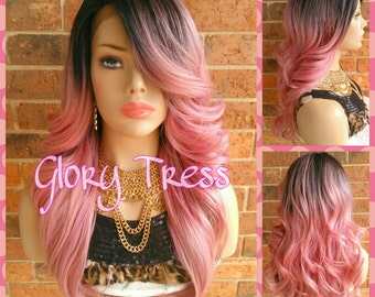 ON SALE // Long Glamorous Curly Lace Front Wig, Ombre Pink Wig, Bombshell Wig, Dark Rooted // RENEW ( Free Shipping )