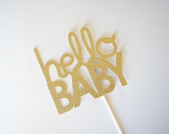 Baby Shower Cake Topper, Hello Baby Cake Topper, Glitter Baby Shower Cake Topper, Glitter Baby Cake Topper, Glitter Cake Topper