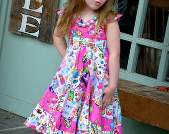 Swirly SHOPKINS Pageant Twirl Dress, Custom Boutique in sizes 6M- 10 girls