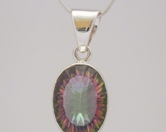 Sterling Silver Mystic Topaz Pendant Necklace