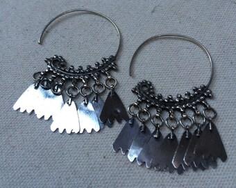 Silver hoop earrings - Bedouin - Nubian - bellydancing
