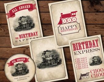 Train Birthday Party, Train Birthday, Train Party, Train Printables. Vintage Train Birthday, Vintage Train Prints, Train Party Printables