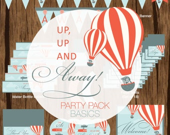 Up, Up and Away Birthday Party Pack, Up, Up and Away Birthday Bundle, Up, Up and Away Birthday Printables, Hot Air Balloon Party Pack