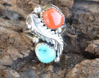 """Vintage Native American Sterling Silver ring with """"Sleeping Beauty"""" Turquoise and Red Sea Coral Ring - Size 7"""